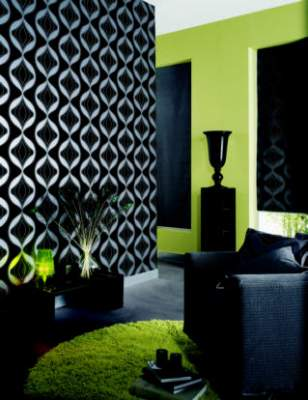 Bricolaje papel empapelar paredes for Lime green black and white room ideas